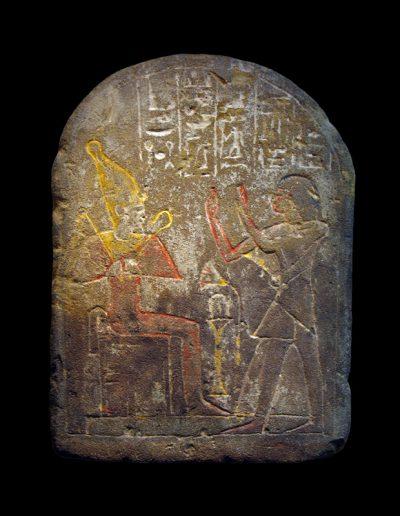 Stele in calcare inciso e dipinto del capo dei Medjai Amen-em-inet